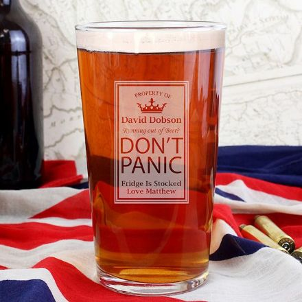 Personalised Pint Glass - Dont Panic